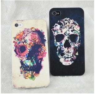 Punk Flower Skull Painted Iphone Cases For iphone 4/4s/5 - lilyby