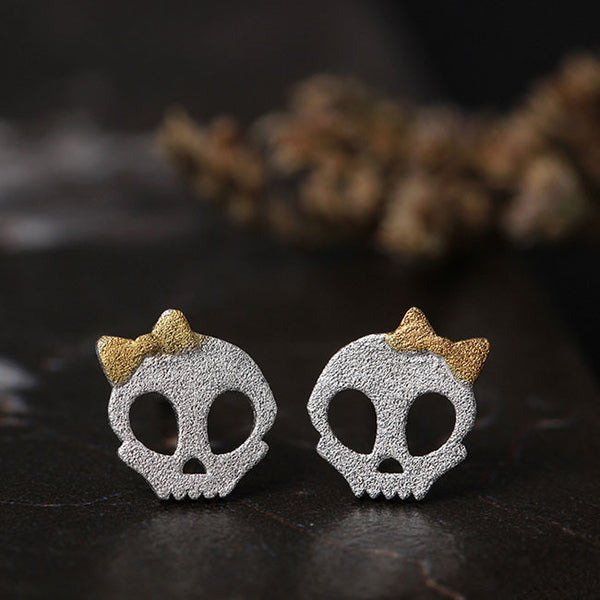 Lovely Dark Princess Punk Bowdot Skull Silver Earring Studs