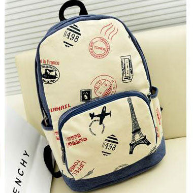 Eiffel Tower & Airplane Print Canvas Backpack - lilyby