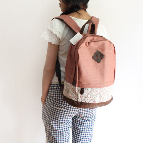 School Cute Spliced Lace Backpack