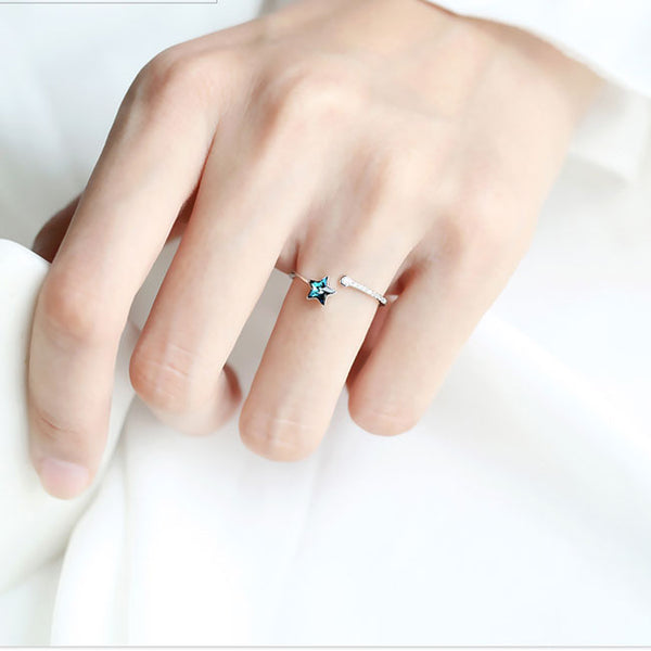 Sweet Blue Star Crystal Silver Simple Female Open Ring