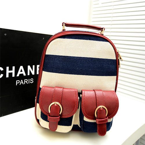 Retro Navy Stripe Print Little Backpack&Ipad Bag - lilyby