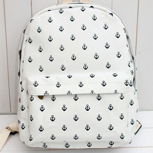 New Navy Anchor Canvas Backpack - lilyby