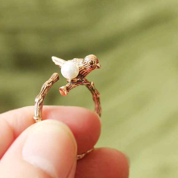 Retro Bird Pearl Opening Animal Wrap Ring - lilyby
