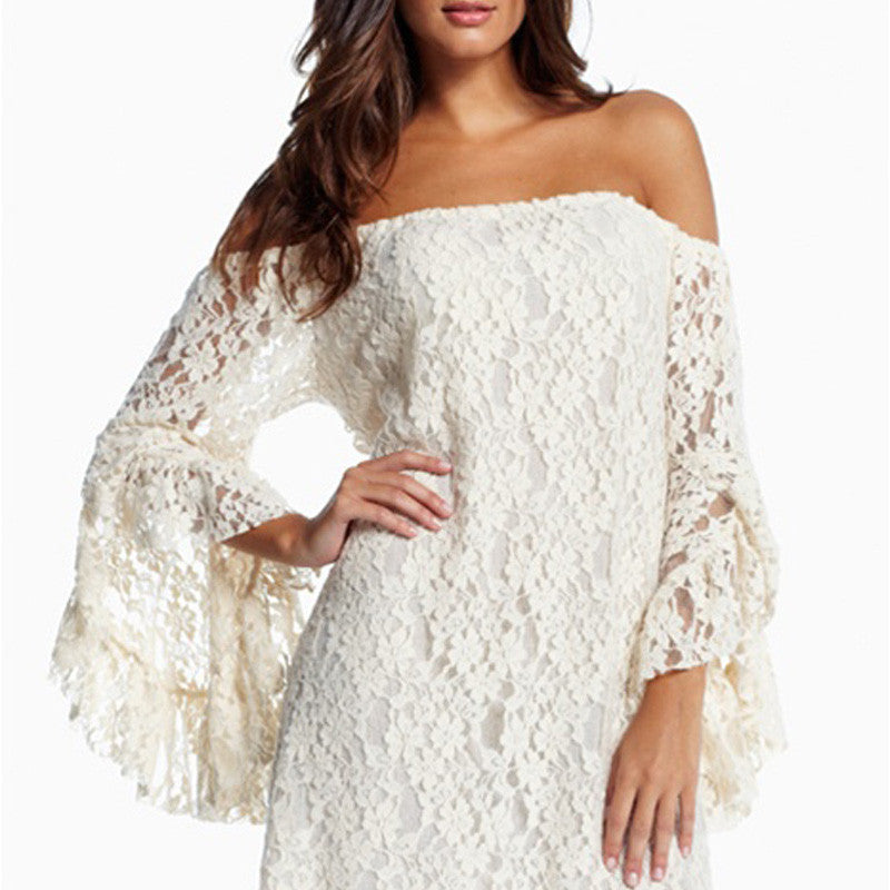 Cheap Fashion Fringeds Speaker Lace Tee Dress - lilyby
