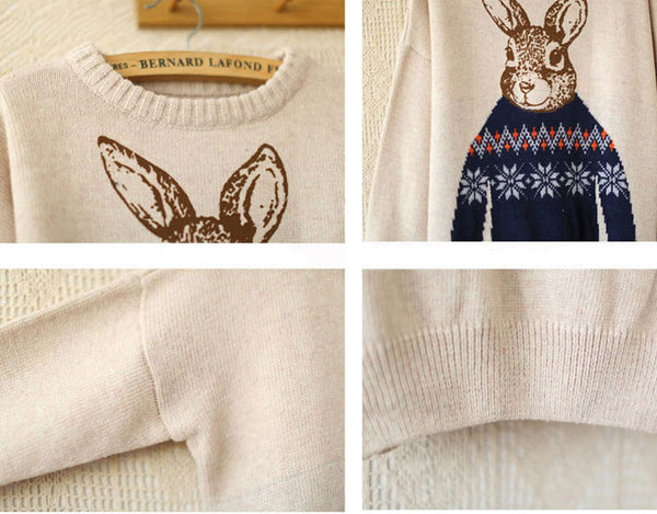 Pretty Rabbit Printing Long-sleeved Sweater&Cardiga - lilyby