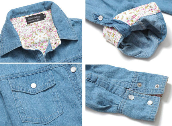 New Red Floral Print Slim Washed Sleeved  Denim Shirt - lilyby