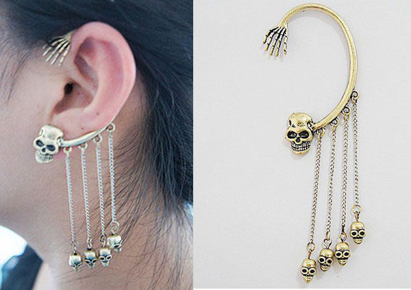 Unique Skull Fringed Earrings Ear Clip