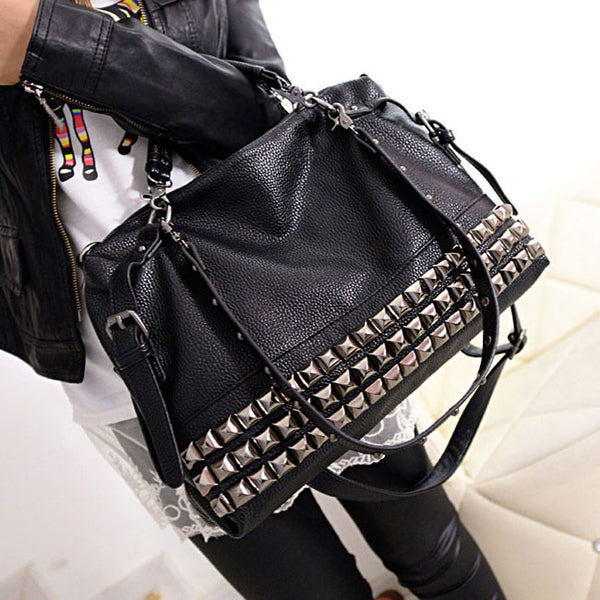 Unique Rivets Women Leather Shoulder Bag Punk Square Rivet Handbag