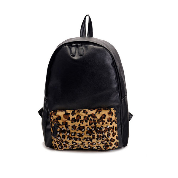 Punk Rivet Leopard Print Backpack - lilyby