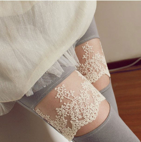 Floral Lace Openings Laugh  Paneled Leggings - lilyby