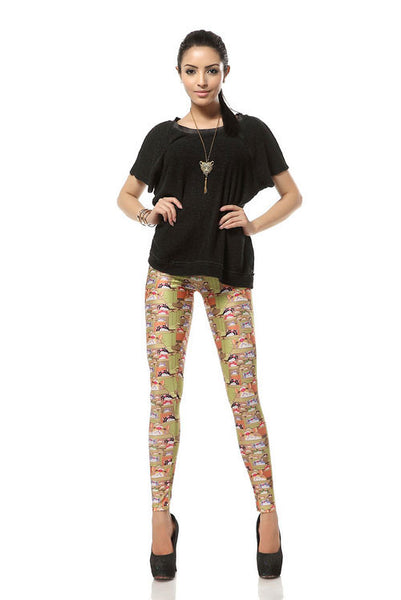 Creative Lucky Cat Printed Leggings - lilyby
