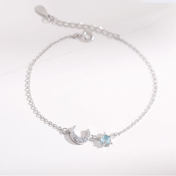 Lovely Ocean Star Moon Opal Silver Women Bracelet