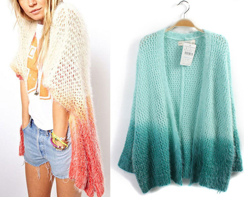 Retro Gradient Color knit &Cardigan - lilyby