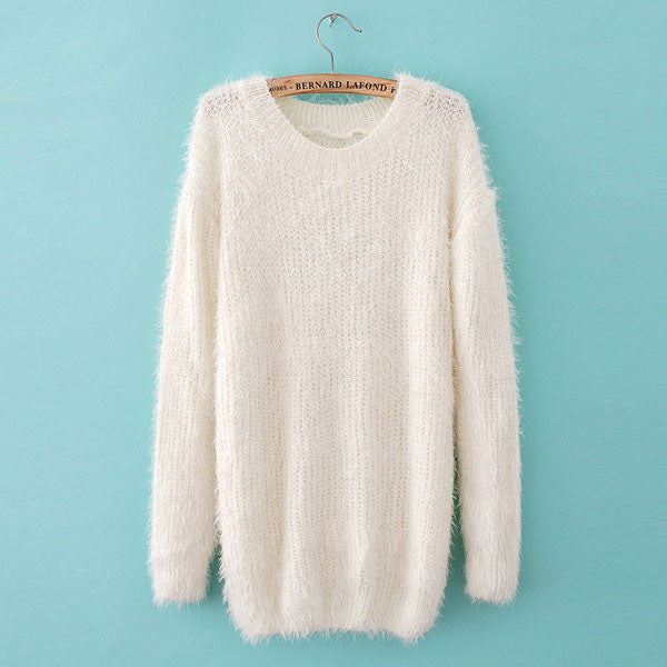 Cheap Simple Fashion Hippocampal Lantern Sleeve Sweater &Cardigan - lilyby