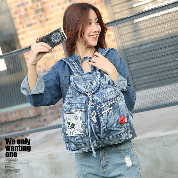 Retro  Glasses Lips Perfume Single Buckle Denim British Flash Drilling Student Backpack