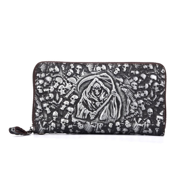 Vintage Punk 3D Skull Original Wallet Large Mobile Wallet Grim Reaper Clutch Bag