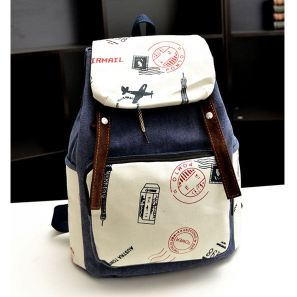 Leisure Eiffel Tower Postmark Canvas Backpack - lilyby