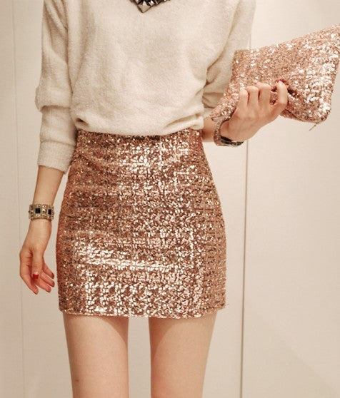 Cheap Temperament Aristocratic Ladies Slim Sequined Skirt - lilyby