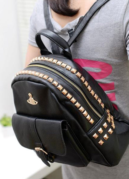 Retro Crown Rivets PU Leather Backpack&Schoolbag - lilyby