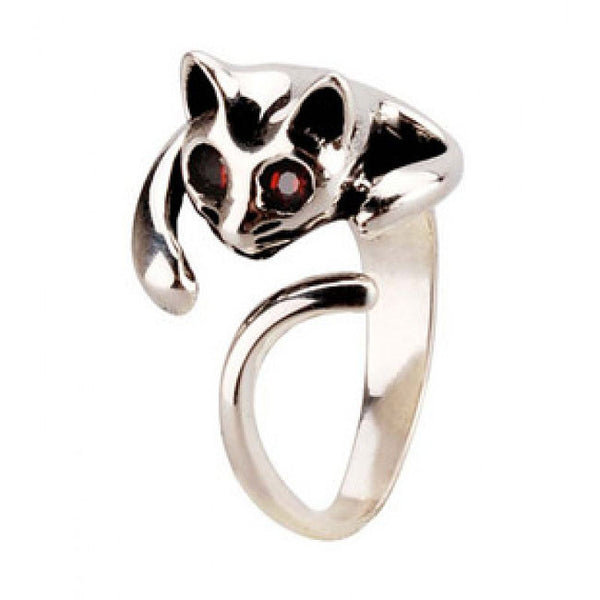 Cute 3D Cat Silver Animal Ring - lilyby