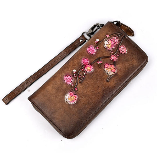 Retro Plum Long Wallet Phone Purse Flower Frosted Embossed Clutch Bag