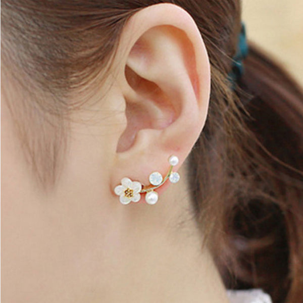Cute Shell Plum Blossom Flower Pearl Earrings Branch Earring Studs