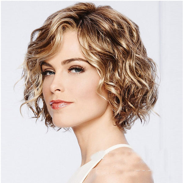 Fashion Roll Mixed Fluffy COS Headgear Wave Brown Short Ladies Hair Wig