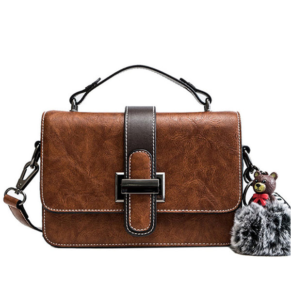 Elegant Single Buckle Bear Decor Shoulder Bag Lady Messenger Bag