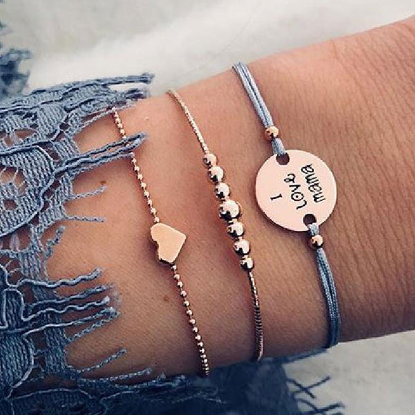 Lovely I Love Mama Alphabet Love Heart Beaded Three-piece Bracelet