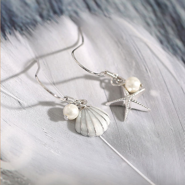 Cute Pearl Shell Earrings Long Tassel Sterling Silver Starfish Drop Earrings