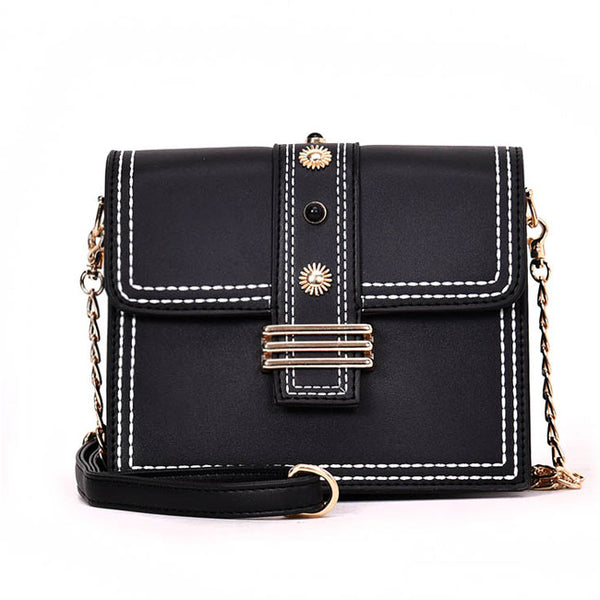 Leisure Chain Messenger Bag Square Fashion Women Single Button Shoulder Bag