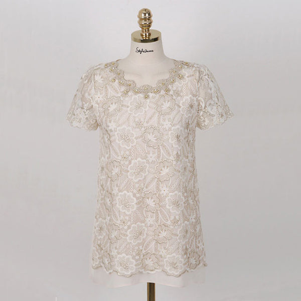 Graceful Lace Gauze Beading Chiffon Shirt - lilyby