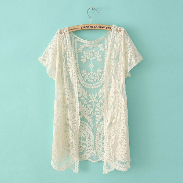 Pretty Crochet Lace Long-sleeved Cardigan&Sunscreen Shawl - lilyby