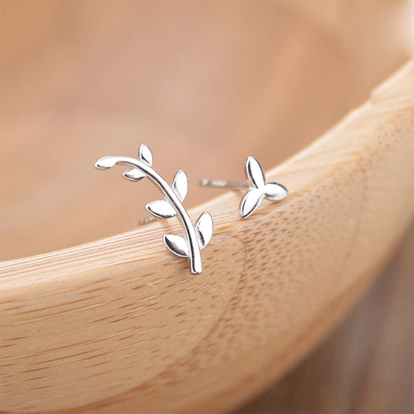 Cute Olive Branch Earrings Asymmetry Leaves Silver Women Earrings Studs