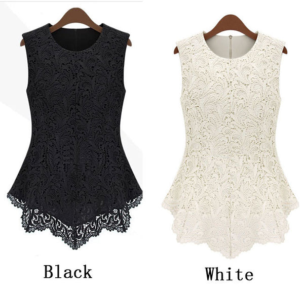 Pretty Retro Pierced Lace Printed Sleeveless Blouse - lilyby