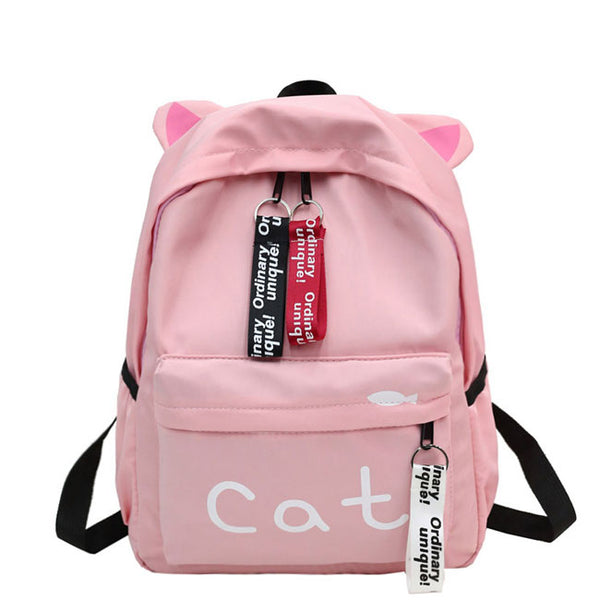 Sweet Cat Letter Large Kitten Ear Decor Canvas School Backpack Pure Color Student Bag