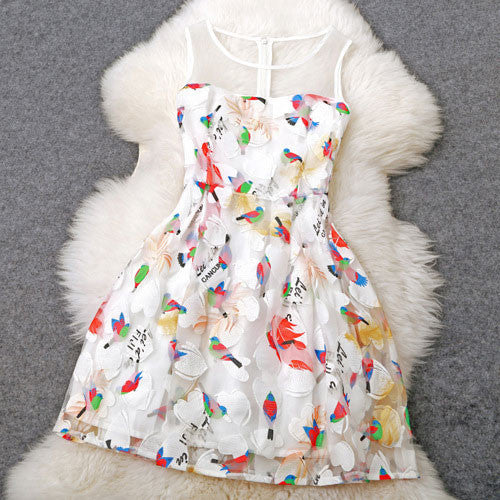 Cheap Unique Embroidered Birds Temperament Princess Dress - lilyby