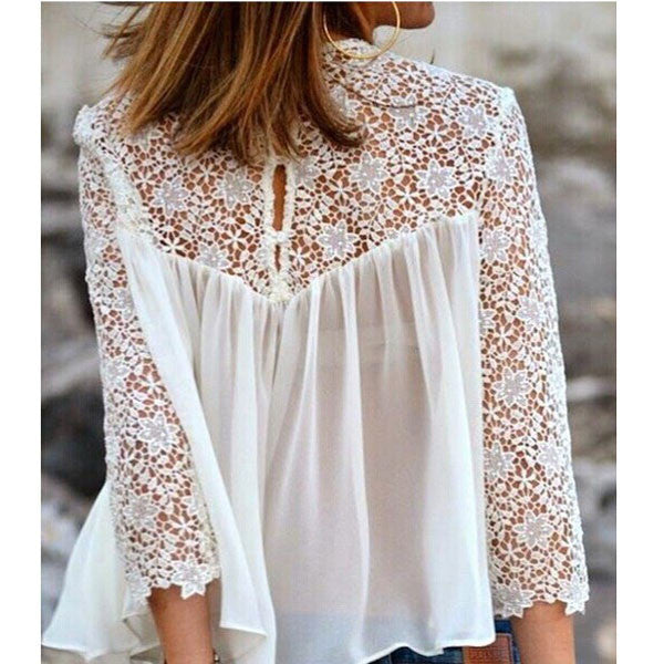 New White Lace Pierced Chiffon Blouse - lilyby