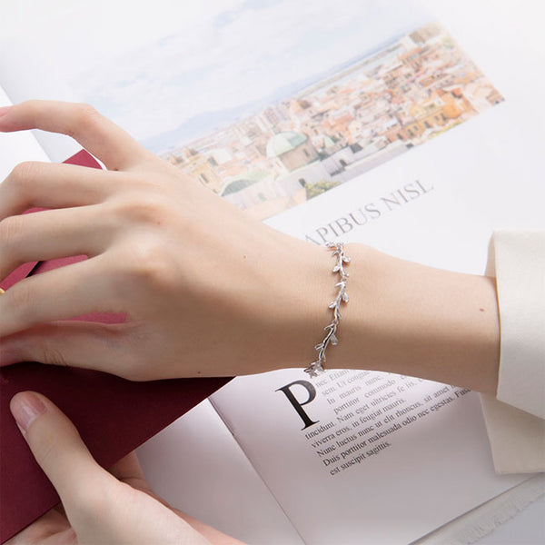 Sweet Forest Style Leaves Branch Silver Bracelet Lover Gift Accessories Women Bracelet
