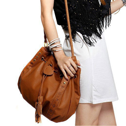 Retro Lace Fringed Lace Bucket Shoulder Bag - lilyby