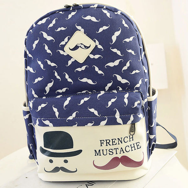 Fresh Moustache School Canvas Backpacks - lilyby