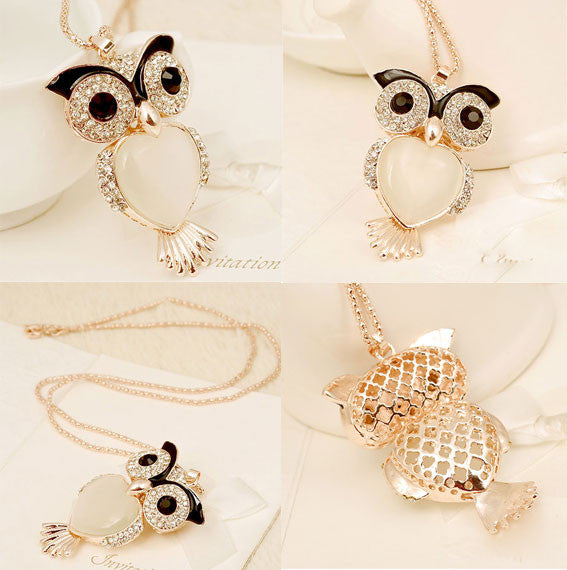 Fresh Owl Heart Opal Long Rhinestone Necklace - lilyby