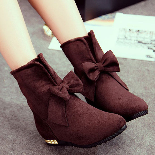Sweet Suede Bowknot Knot Female Ankle Boots