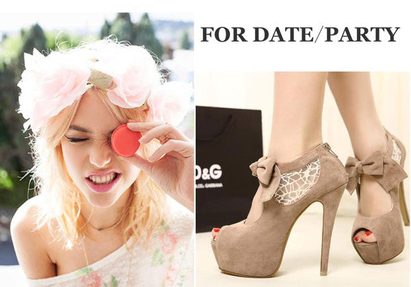 Sexy Hollow Lace Bowknot Platform Peep Toe High Heel Shoes - lilyby