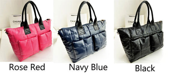 New Navy Blue Leather Down Handbag&Shoulder Bag - lilyby