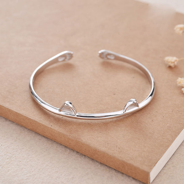 Cute Lover Present Jewelry Kitten Foot Women Bracelet Cat Ear Silver Open Bracelet