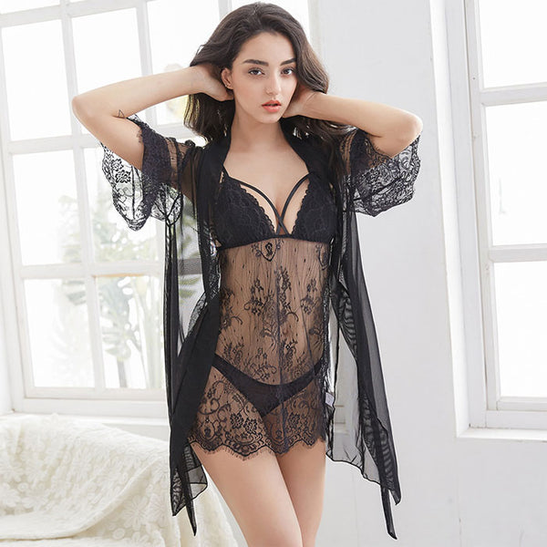Sexy 3 piece Set T-pants Nightgown Robe Nightdress Hollow Lace Pajamas Women Intimate Lingerie