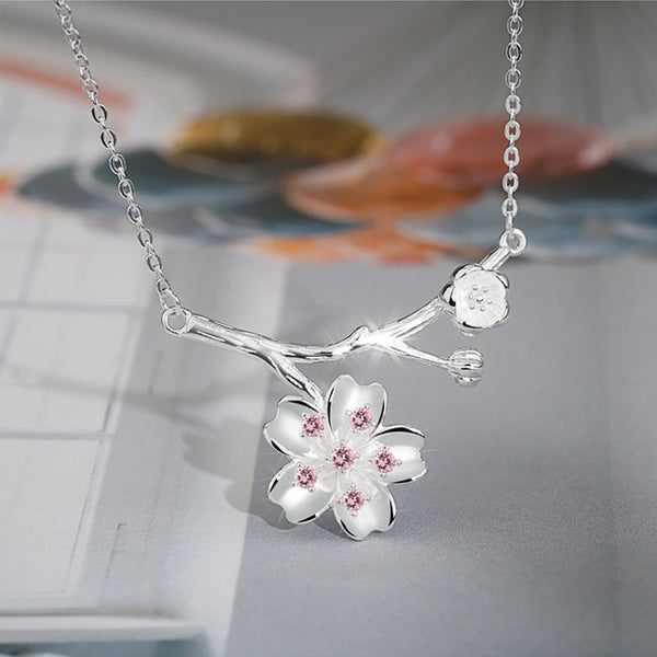 Cute Pink Crystal Lover Gift Girlfriend Present Flower Women Necklace Cherry Branch Pendant Silver Necklace