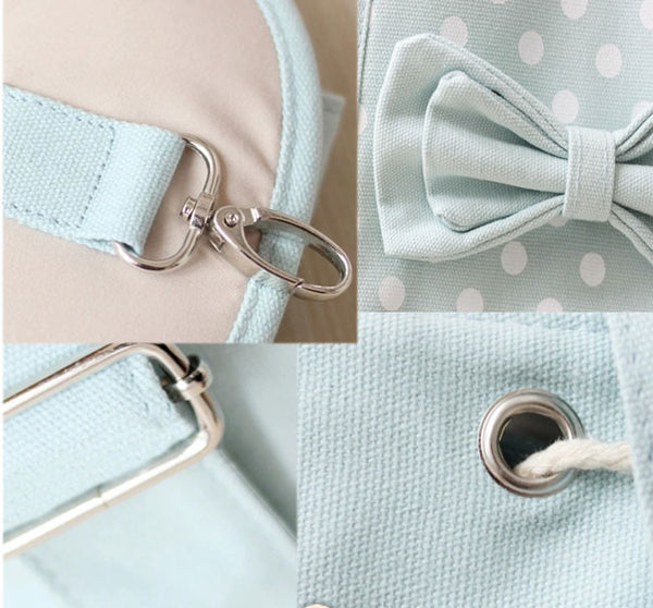 Fresh Sweet Bow Contrast Color Lovely Polka Dot Backpack - lilyby